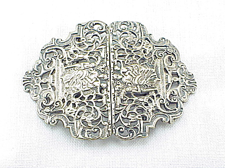 English Victorian Art Nouveau Silver Plate Nurses Cape Belt Buckle