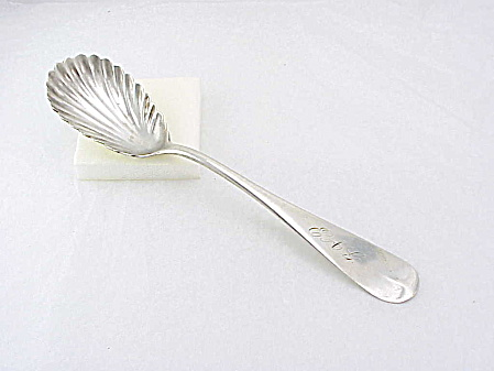 Antique Coin Silver Sugar Shell Spoon Signed A. P. Hendrick