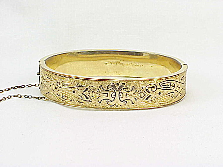 Victorian 10k Gold Filled Etched Taille D'epergne Bangle Bracelet