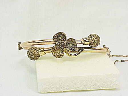Antique Victorian Estruscan Revival Rose Gold Filled Bangle Bracelet