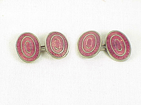 Antique Victorian Or Art Deco Rose Pink Guilloche Enamel Cufflinks