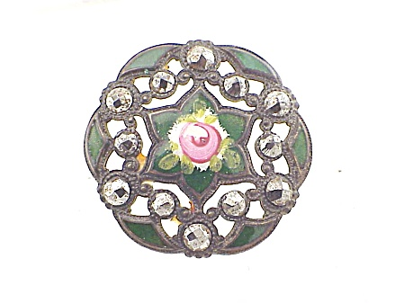 Antique Victorian Champleve Enamel Rose Cut Steel Filigree Button
