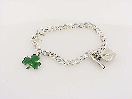 Wells Sterling Silver Graduation Charm Bracelet - Cap, Diploma, Clover