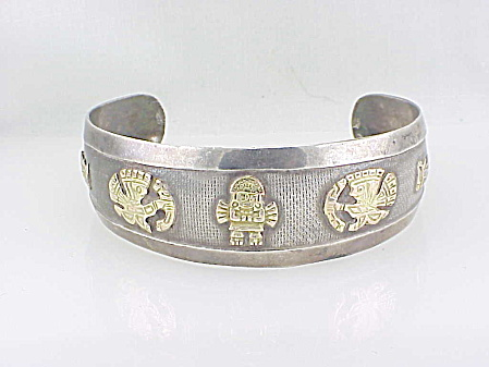 Vintage Peru 18k Gold And Sterling Silver Cuff Bracelet