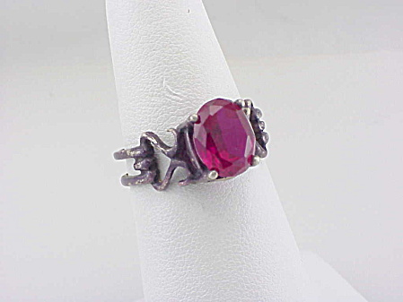 Vintage Art Deco Sterling Silver And Ruby Ring