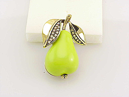 Vintage Forbidden Fruit Lucite And Rhinestone Pear Brooch