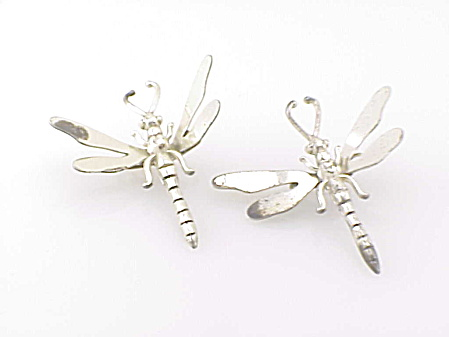 2 Vintage Unique Sterling Silver Dragonfly Spring Brooch Clips