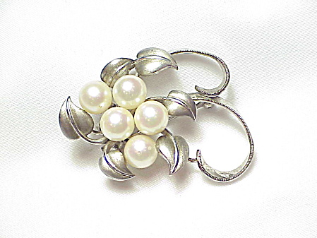 Vintage Sterling Silver And Pearl Brooch