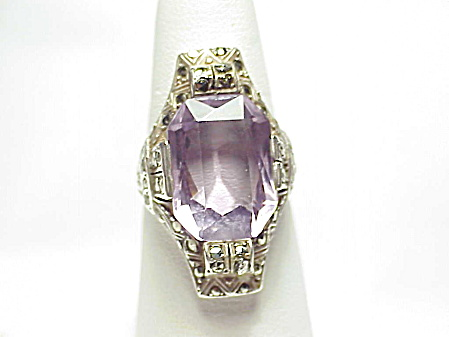 Art Deco Sterling Silver Amethyst And Marcasite Ring - Size 8