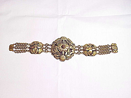 Vintage Victorian Revival Bracelet With Flowers And Leaves