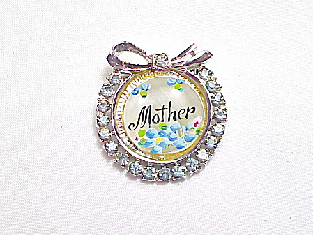 Vintage Painted Mother Blue Rhinestone Mother Of Pearl Brooch