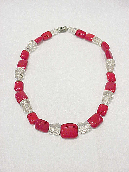 Vintage Red And Clear Glass Bead Choker Necklace