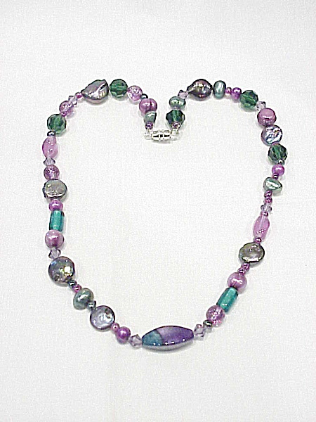 Vintage Purple Blue And Green Glass And Pearl Bead Necklace