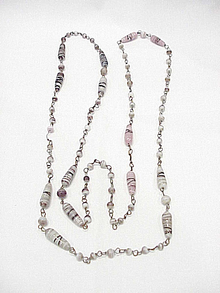 Vintage Long Purple, Pink And White Glass Bead Necklace