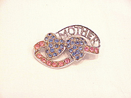 Vintage Blue And Pink Rhinestone Mother Brooch