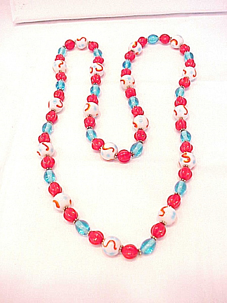 Vintage White, Red And Blue Art Glass Bead Necklace