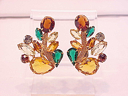 Vintage Juliana Fruit Salad Rhinestone Clip Earrings