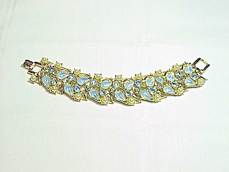 Vintage Wide Blue Opal Rhinestone And Pearl Bracelet