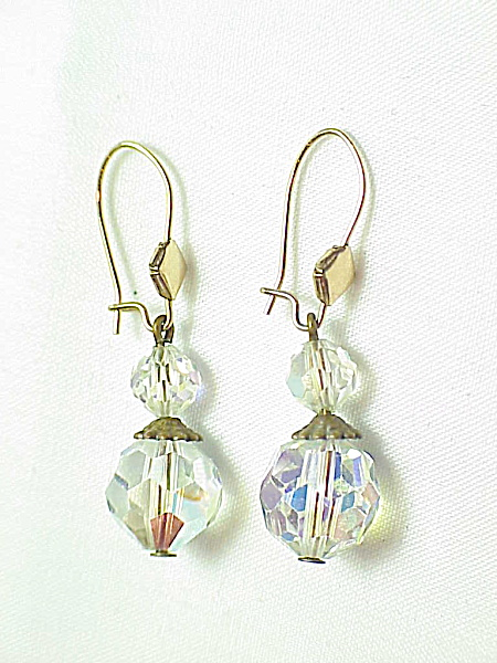 Vintage Dangling Aurora Borealis Crystal Bead Pierced Earrings