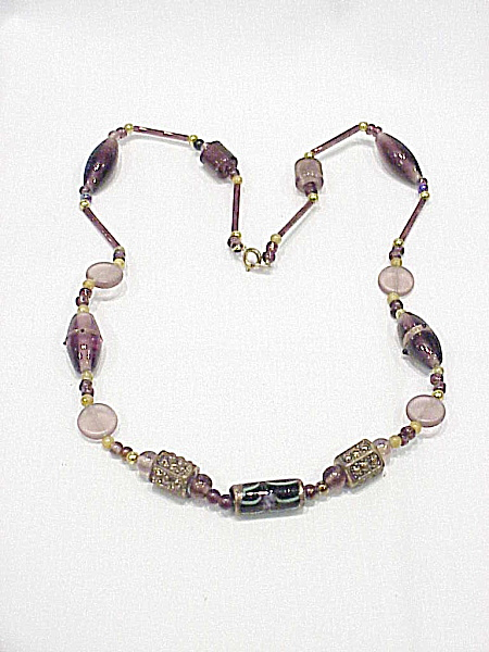 Vintage Venetian Purple, Black And Gold Art Glass Bead Necklace