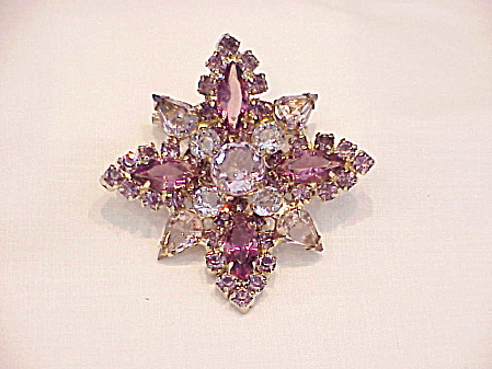 Vintage Light And Dark Amethyst Rhinestone Brooch Possible Juliana