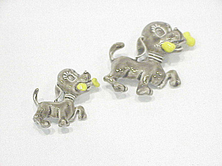 Vintage Pair Of Puppy Dog Enamel Scatter Pin Brooches