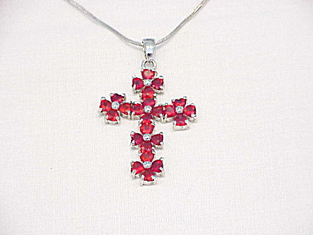 Red Rhinestone Cross Silver Tone Pendant Necklace