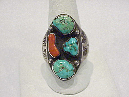 Old Pawn Native American Sterling Silver, Turquoise, Red Coral Ring
