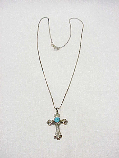 Native American Sand Cast Sterling Silver And Turquoise Cross Necklace