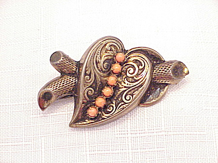 Antique Victorian Sterling Silver And Coral Brooch Signed Rode'
