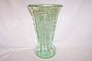 "Green Peacock & Rose 12"" Flared Vase"