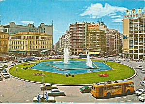 Athens, Greece Omonia Plate, Fountains, Bus, Cars