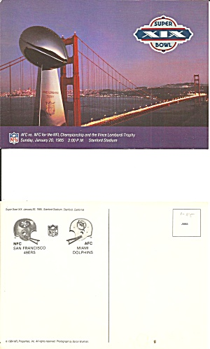 Super Bowl 19 Dolphins 49ers Postcard Lp0727