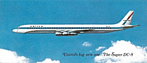United Airlines Super Dc-8 In Flight Postcard Lp0814