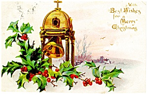Holly And Church Bell Raphael Tuck Postcard P10017