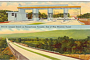 Longest Straight Stretch Of Pa Turnpike Postcard P27128