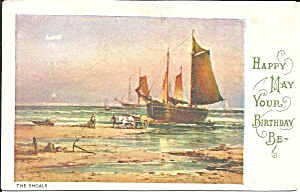 Sail Boat On The Shoals Birthday Postcard P36321