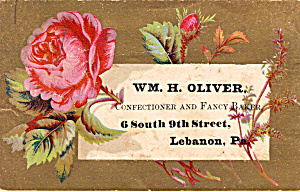 Wm H Oliver Confectioner & Fancy Baker Trade Card