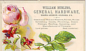 William Burling General Hardware Trade Card