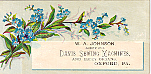 W A Johnson, Davis Sewing Machines Trade Card