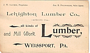 Lehighton Lumber Co.trade Card