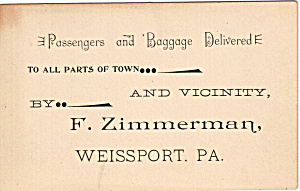 F.zimmerman, Passenger Delivered Trade Card