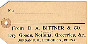 D A Bittner & Co., Dry Goods Trade Card