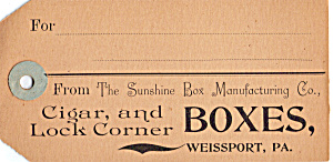 Sunshine Box Manufacturing Co Card