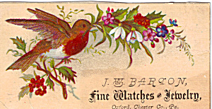 J W Barton Fine Watches & Jewelery. Trade Card
