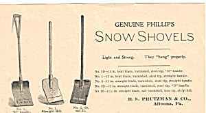 Genuine Phillips Snow Shovels Trade Card