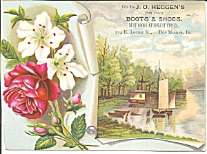 J O Heggen S Boots Shoes Trade Card Tc0227