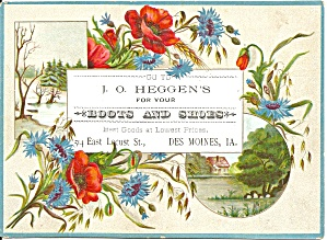 J O Heggen S Boots Shoes Trade Card Tc0228