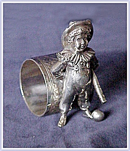 Figural Napkin Ring Boy With Bat And Ball