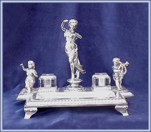 Ornate Victorian Figural Inkwell